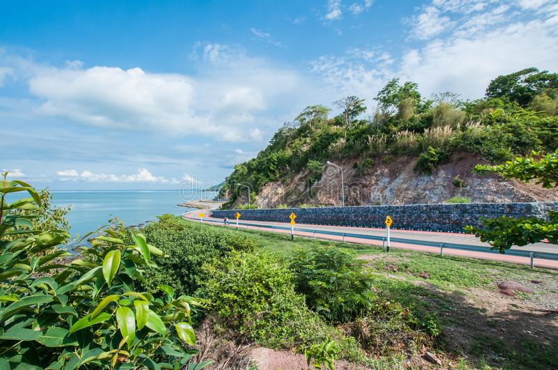 Curve of coast road with mountain and sea, Nang Phaya hill scenic point. Landscape stock image