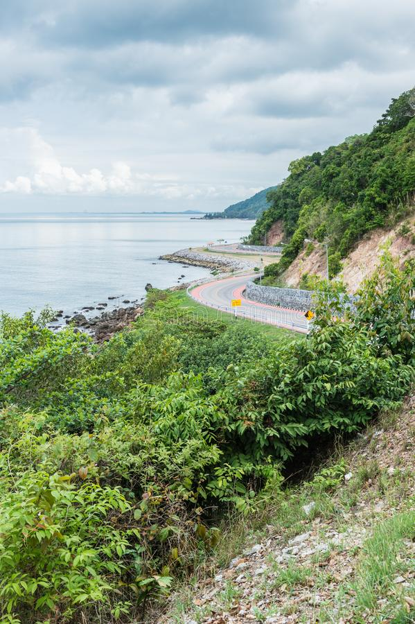 Curve of coast road with mountain and sea, Nang Phaya hill scenic point. Landscape royalty free stock image