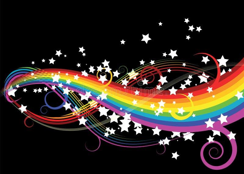 Curve del Rainbow con le stelle illustrazione di stock
