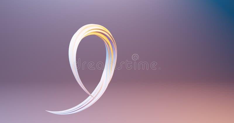 Curve e colpi 3d rendere il manifesto variopinto moderno di flusso del liqud illustrazione vettoriale
