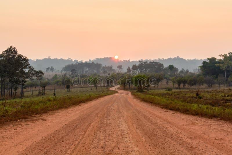 Curve el camino en el valle con salida del sol y niebla fotos de archivo
