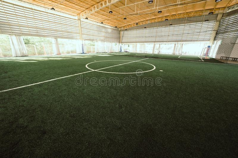 Line of an indoor football soccer training field stock photography