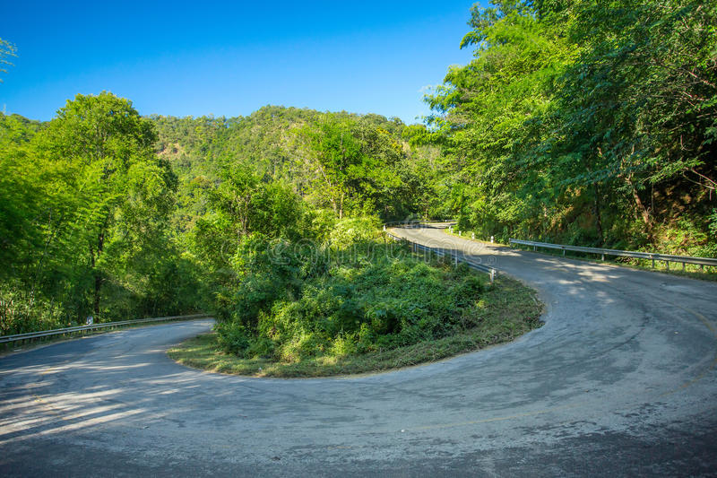 Curve of the mountain road stock photography