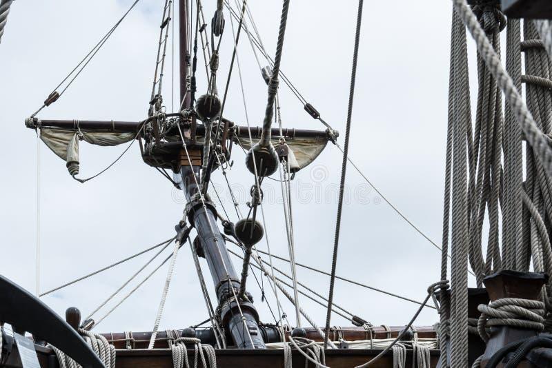 Curve o sprit em S/V Galeon, réplica do galeão espanhol fotos de stock