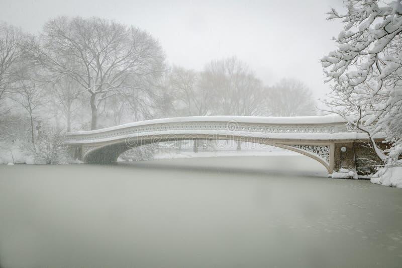 Curve a ponte coberta na neve, Central Park, NYC fotografia de stock royalty free