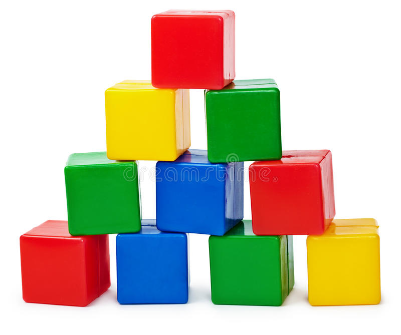 Curve pyramid from color cubes. Constructed by the child isolated on white background royalty free stock image