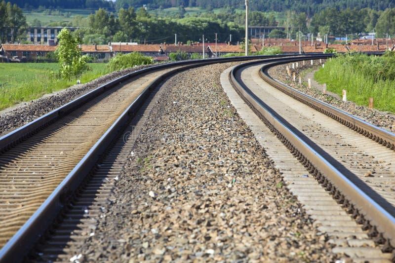 Curve railroad tracks stock image