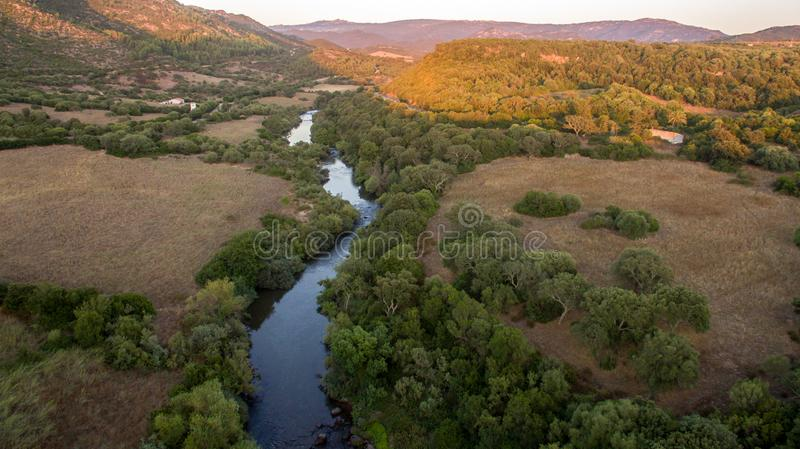 Curve of the river with canyon at the sunset seen from above with the drone stock images