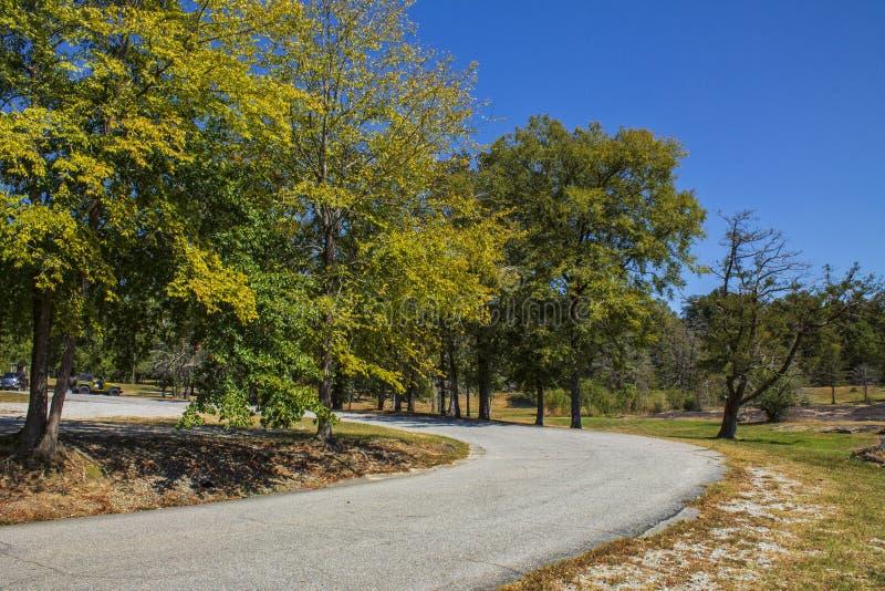 The Curve in the Road. `The Curve in the Road`, is captured at Flat Rock Park, in Columbus, Georgia royalty free stock photos