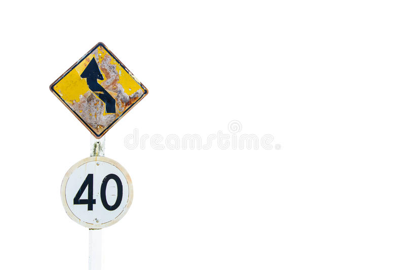 Curve road and speed limit sign road isolated on white background royalty free stock photography