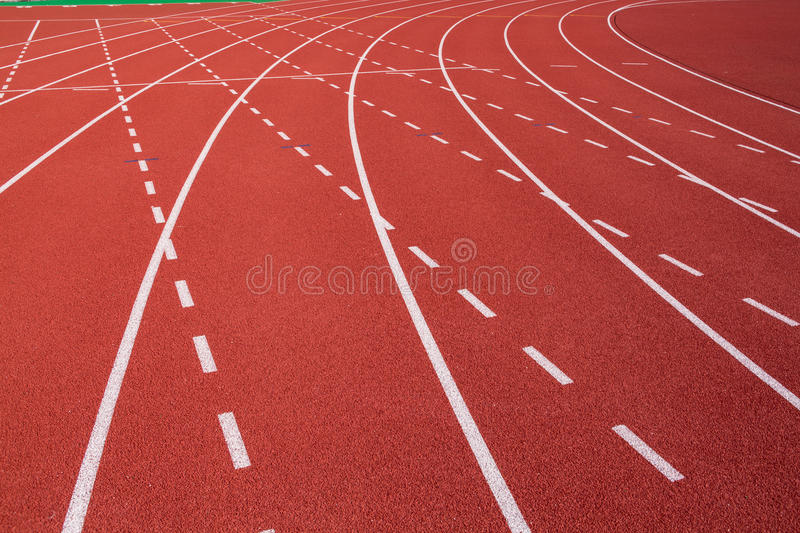 Curve on running track stock photos