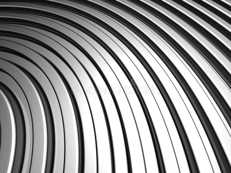 Curve shape silver aluminium stripe background stock photo