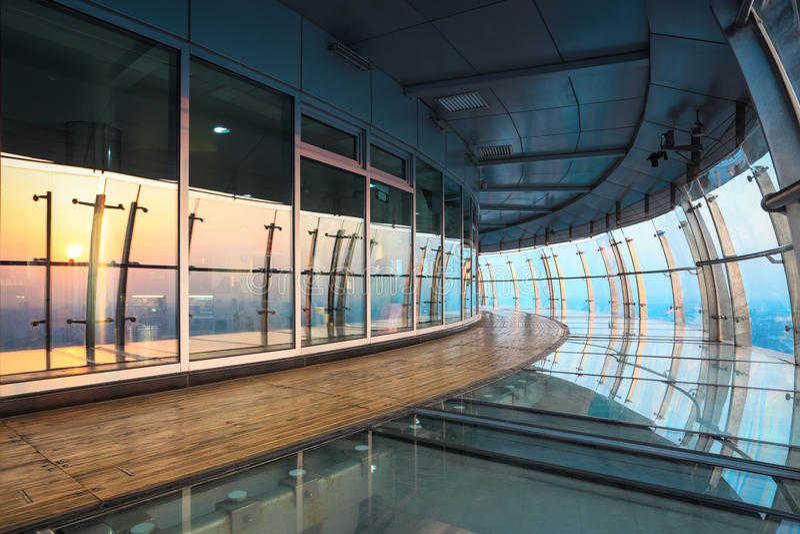 Curve sightseeing corridor at dusk royalty free stock image