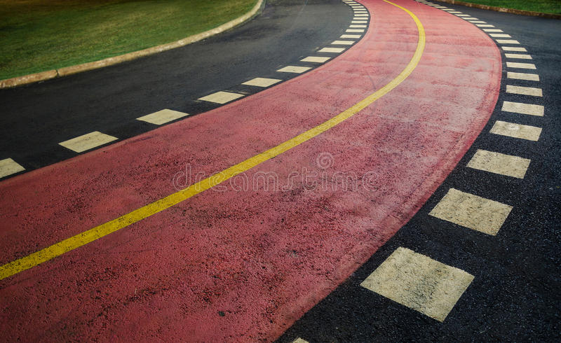 Curve of a walking track at night royalty free stock photography