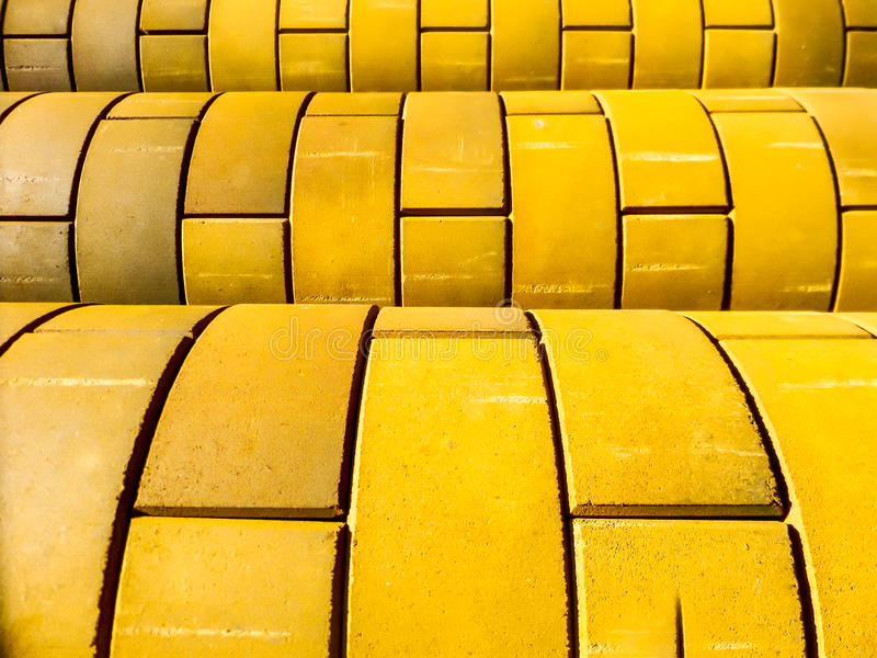 Curve Of Yellow Color Brick Wall Stock Image - Image of aged, rock ...