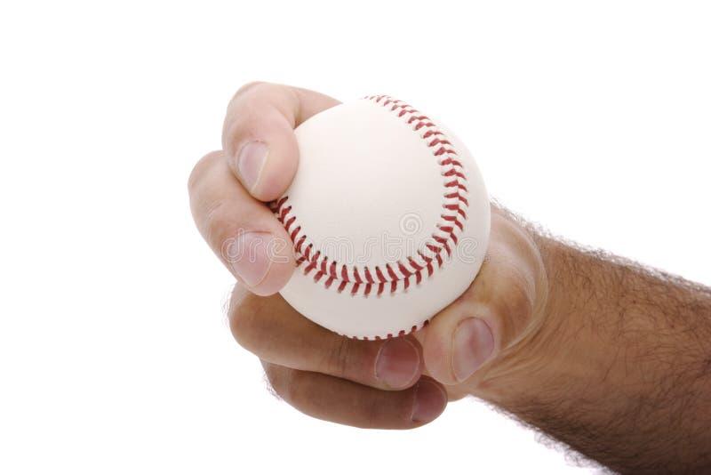 Curveball grip. Demonstrating the curveball baseball pitching grip stock photo