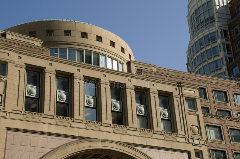 Curved Architecture in Boston. Against Blue Sky royalty free stock photo