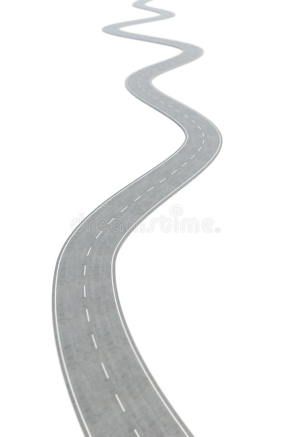 Curved asphalt road going forward with white markings. 3d illustration stock illustration