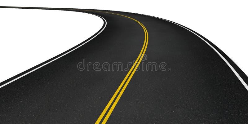 Curved asphalt road stock illustration