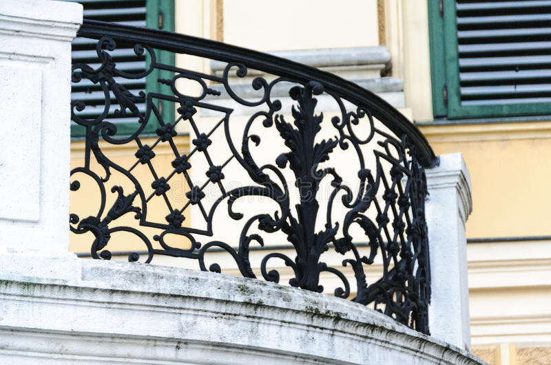 download curved black metal railing and white stone exterior portico at s stock po image