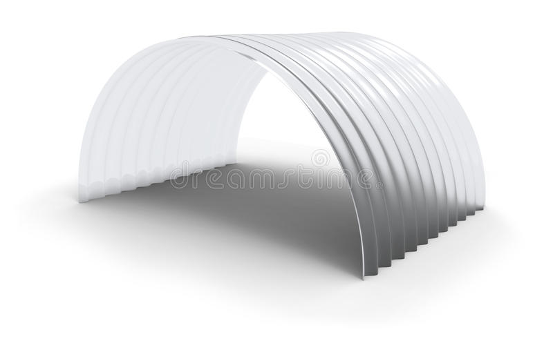 Curved corrugated polycarbonate sheet. Isolated on white stock illustration