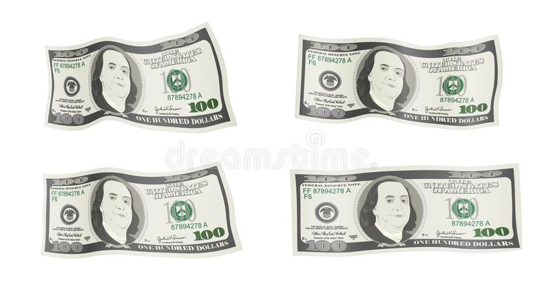 Curved 100 dollar. Banknotes. Bill one hundred dollars isolated on white background. Concept of prosperity, success, growth in business. Flying, falling vector illustration