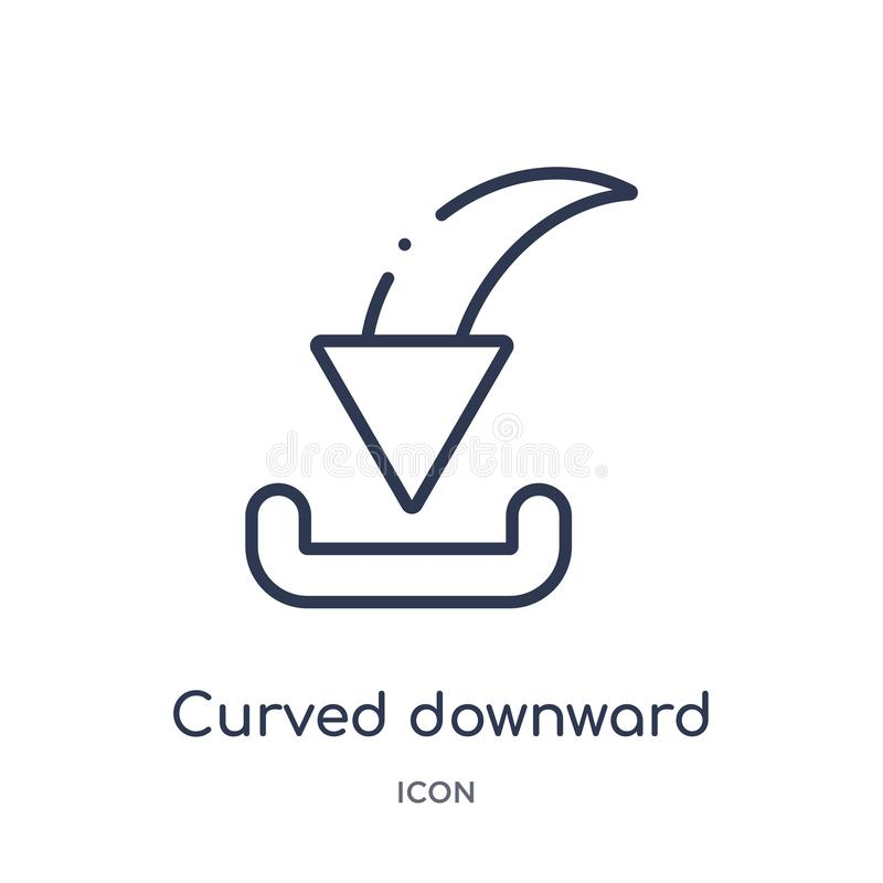 curved downward arrow icon from user interface outline collection. Thin line curved downward arrow icon isolated on white royalty free illustration