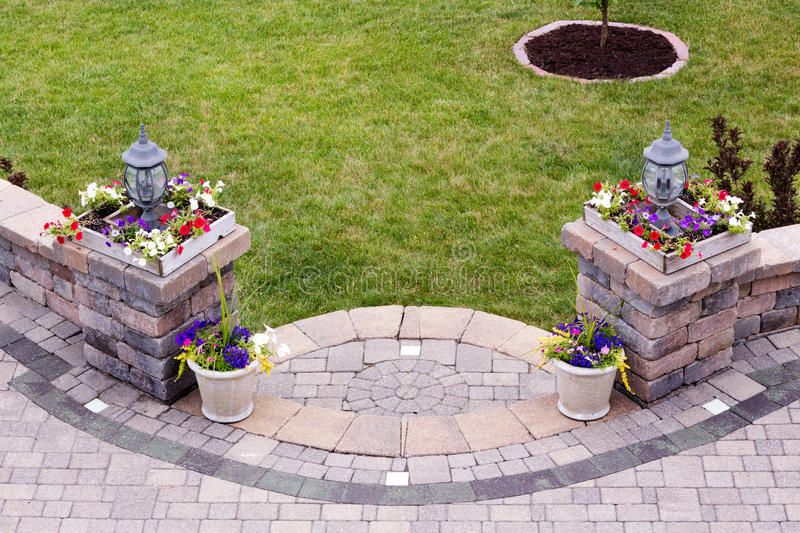 Curved entrance to an outdoors patio stock images