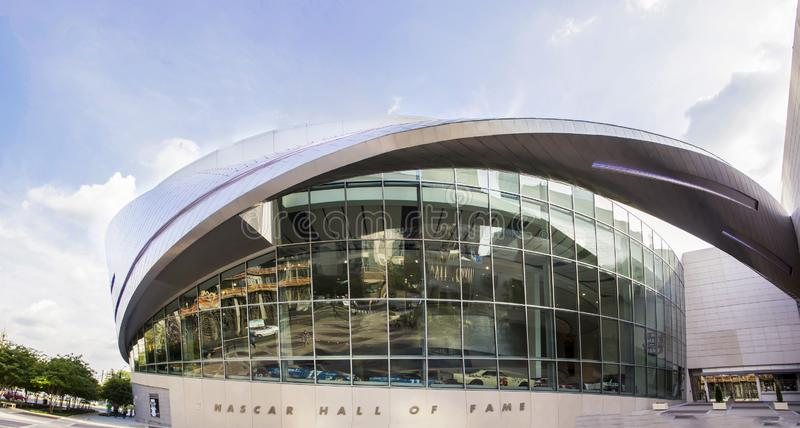 Curved exterior of the Nascar Hall of Fame building in Charlotte North Carolina. A picture of the curved exterior of the Nascar Hall of Fame building in stock photography