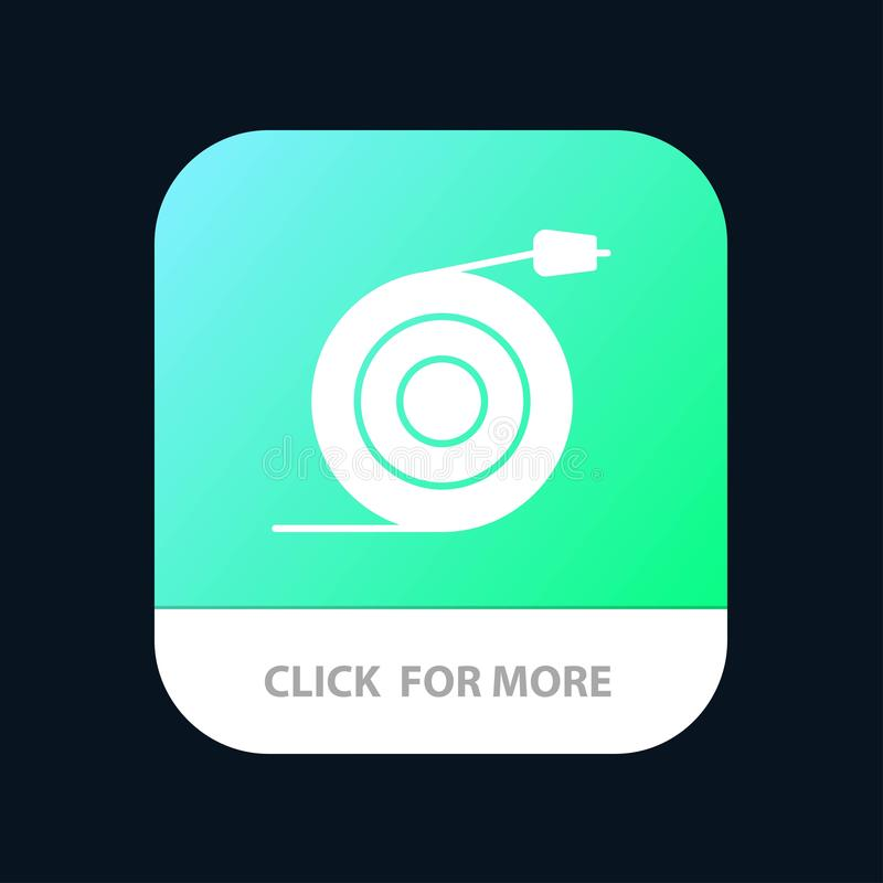Curved, Flow, Pipe, Water Mobile App Button. Android and IOS Glyph Version vector illustration