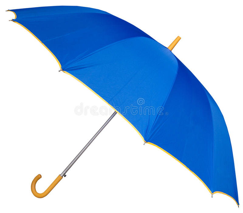Curved handle golf umbrella. The large curved handle golf umbrella with blue color isolated on white background royalty free stock image