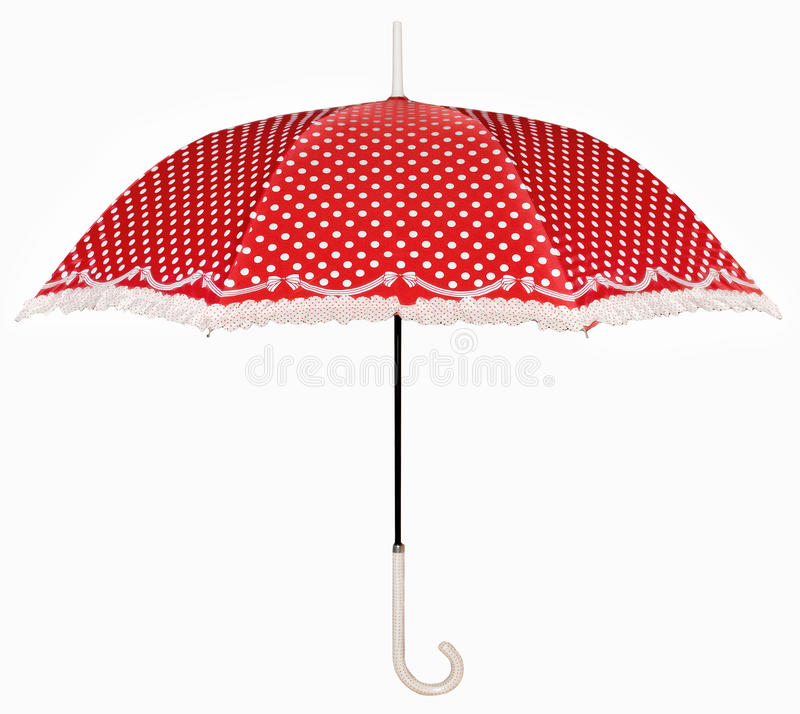 Curved handle red umbrella. The little curved handle red umbrella with lace isolated on white background stock images