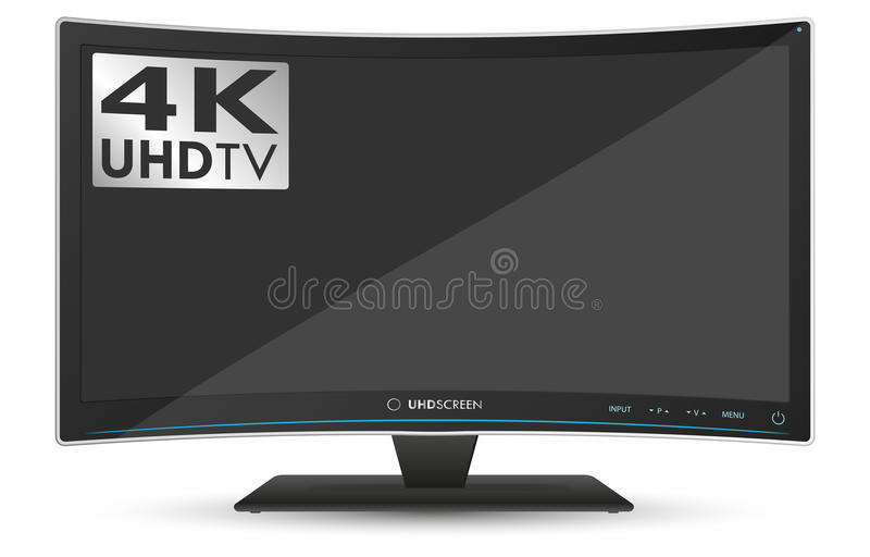 Download Curved 4K UHD Ultra High Definition TV On White Background Stock  Vector   Illustration Of