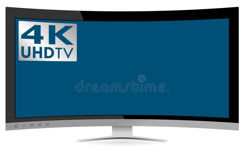 Curved 4k uhd ultra high definition tv on white background stock vector illustration of modern - Ultra high def tv prank ...