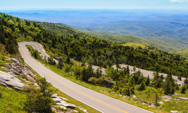 Curved Mountain Road North Carolina royalty free stock images