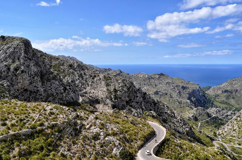 Mountain roads on majorca balearic island in spain. Curved mountain roads on mallorca balearic island in spain - top view on mediterranean sea royalty free stock photography