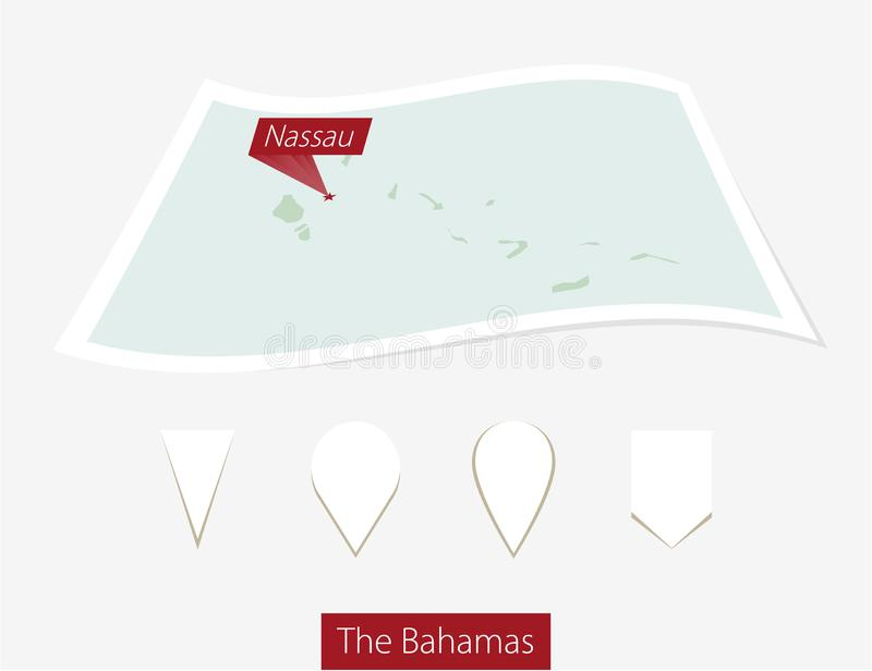 Curved paper map of The Bahamas with capital Nassau on Gray Back. Ground. Four different Map pin set. Vector Illustration royalty free illustration