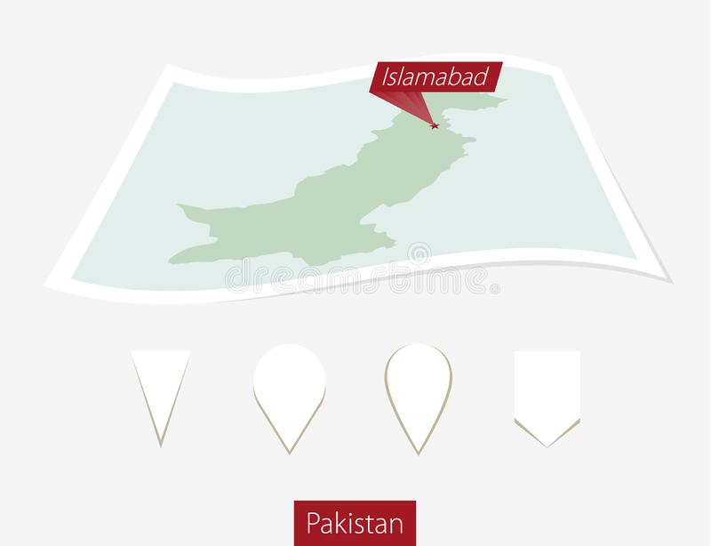 Curved paper map of Pakistan with capital Islamabad on Gray Back stock illustration