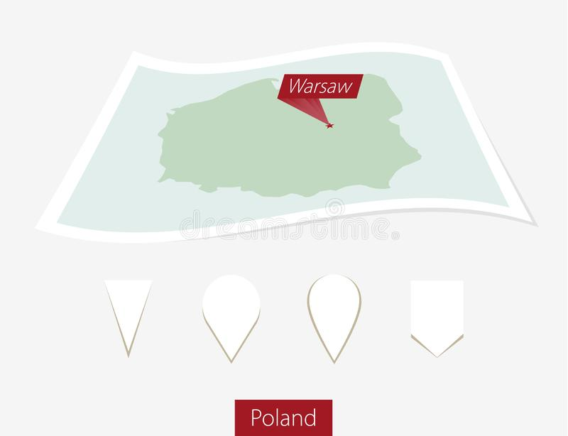 Curved paper map of Poland with capital Warsaw on Gray Background. Four different Map pin set. vector illustration