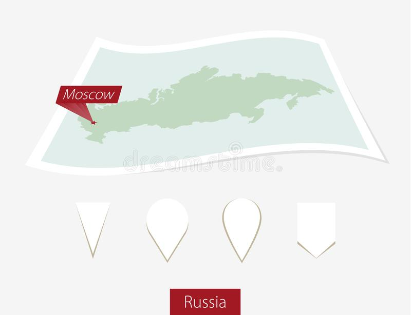 Curved paper map of Russia with capital Moscow on Gray Background. Four different Map pin set. vector illustration