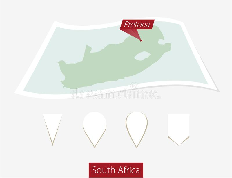 Curved paper map of South Africa with capital Pretoria on Gray B royalty free illustration