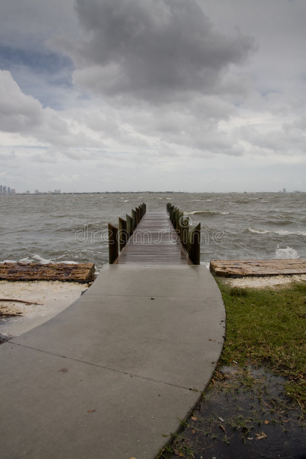 Download Curved Path To Pier Stormy Afternoon - Vertical Stock Image - Image: 6991953