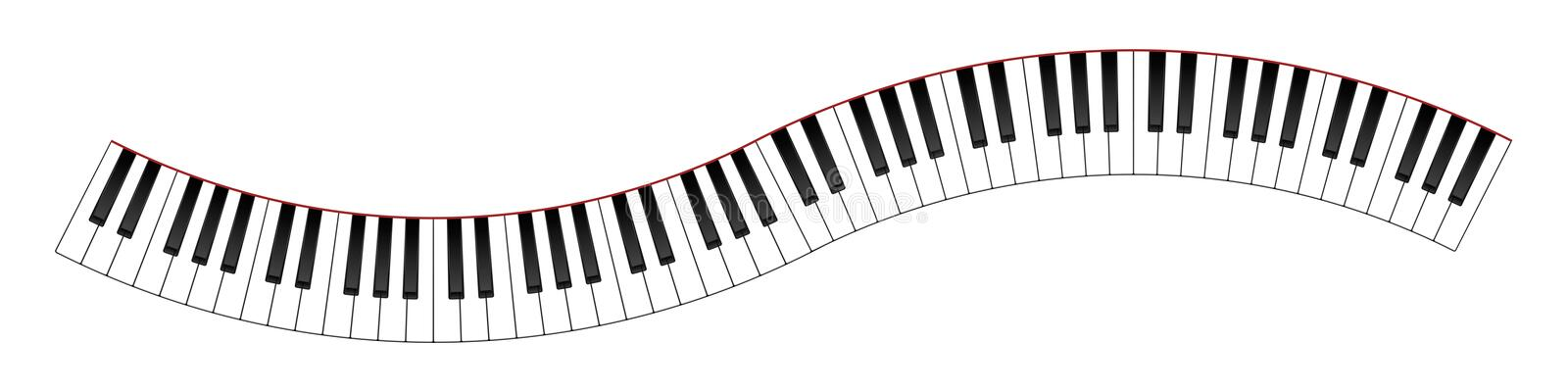 Curved Piano Keyboard. 8 Octaves Curved Piano Keyboard Illustration stock illustration