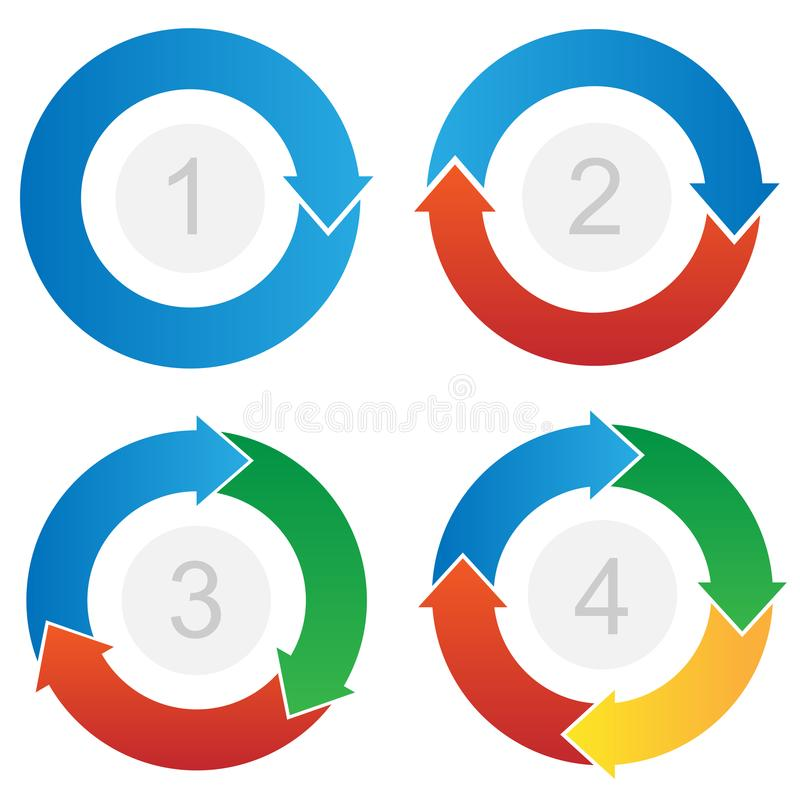 Curved Process Flow Arrows Info-graphic Vector. Very simple modern stylish curved process step arrows with a one step process flow, two step process flow, three vector illustration