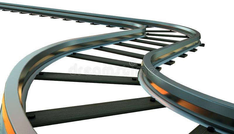 Curved railroad track on white background. 3d illustration royalty free illustration