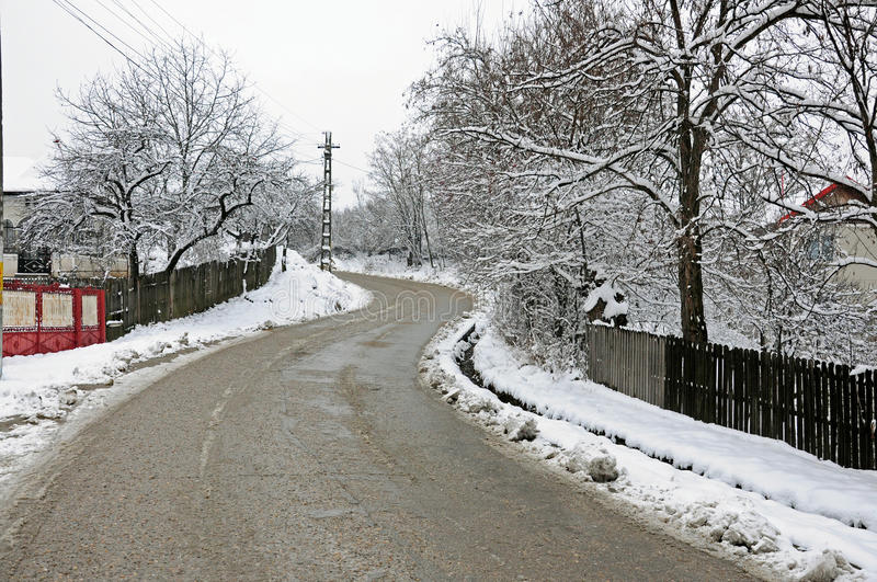 Curved recently plowed road stock image