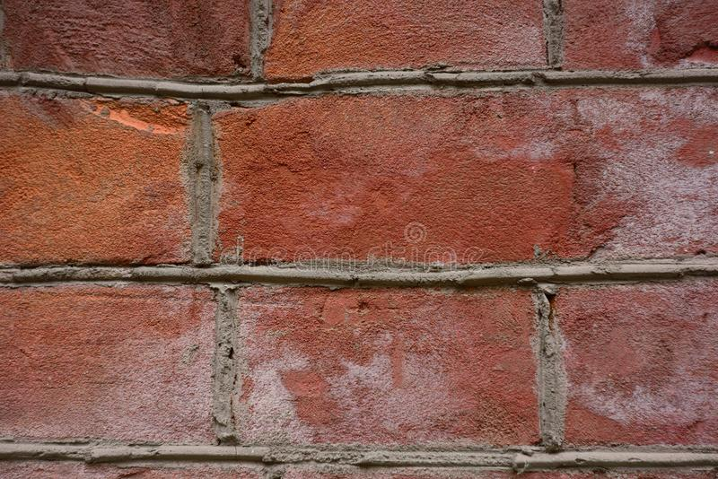 Curved red brick wall stock photo