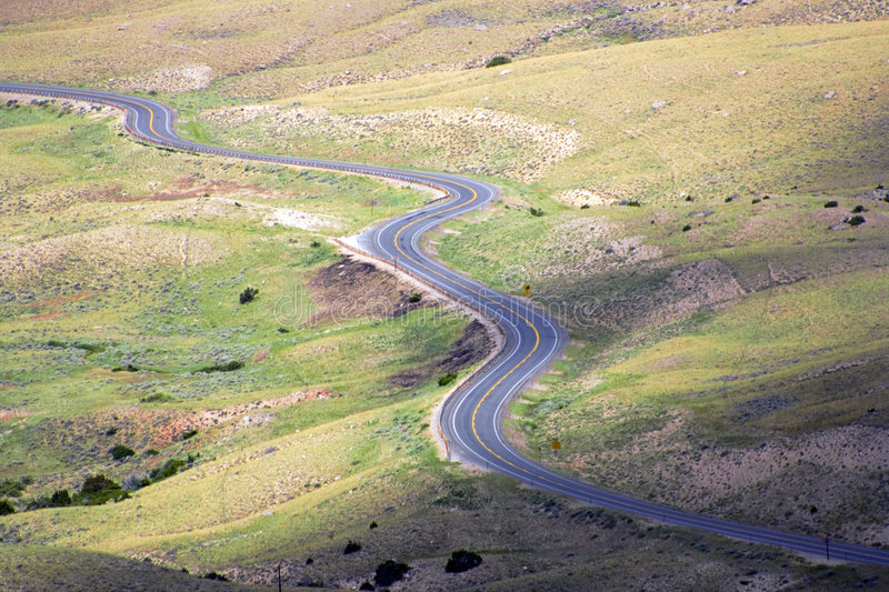 Curved road. In the mountains stock photography