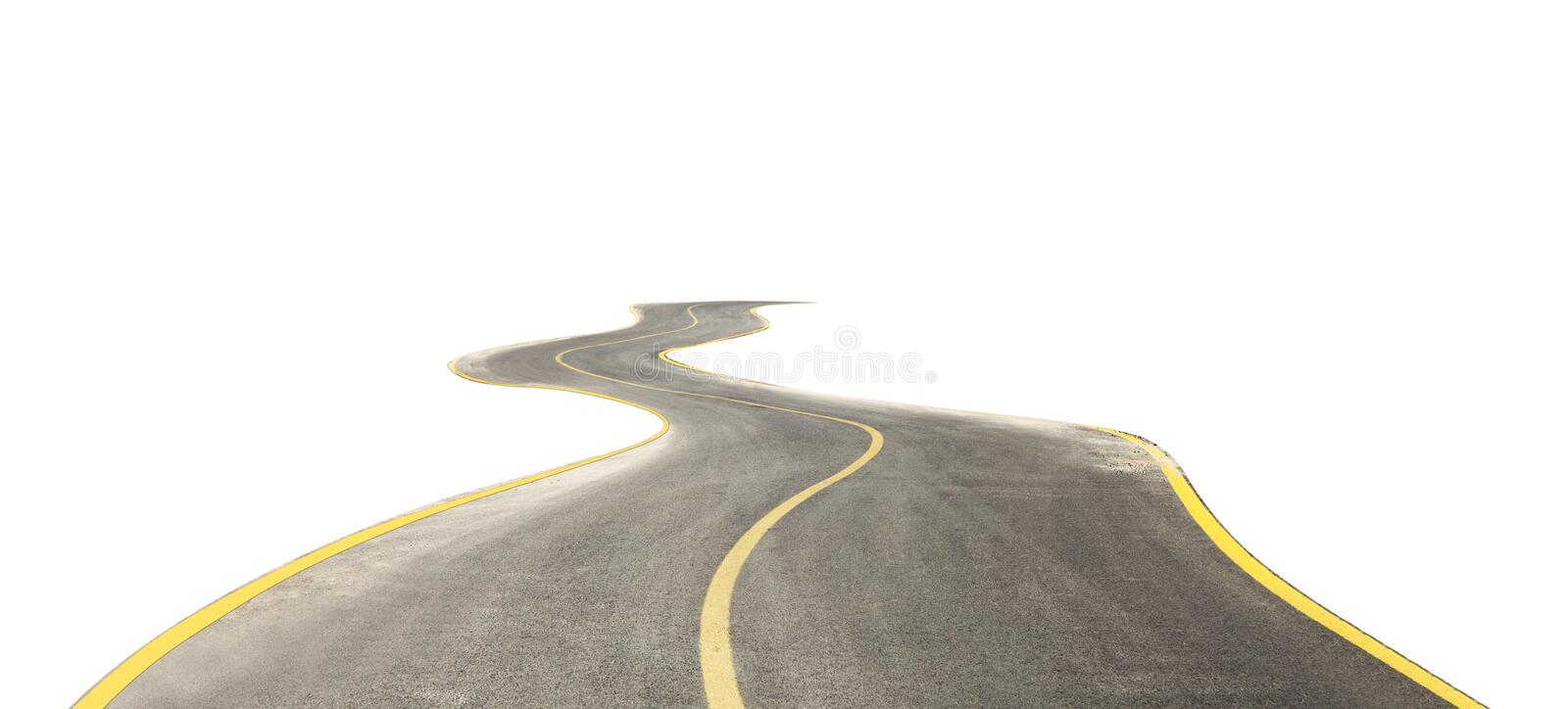 Curved road isolated on white royalty free stock photos