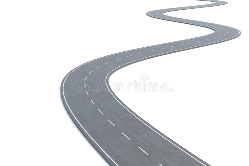 Curved road isolated on white background. 3d illustration royalty free illustration